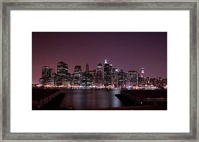 Dusk At Brooklyn Port Framed Print