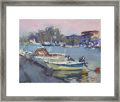 Dusk At Chalkoutsi's Harbor Greece Framed Print