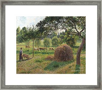 Dusk At Eragny Framed Print by Camille Pissarro