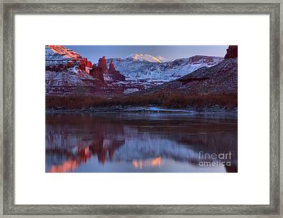 Framed Print featuring the photograph Dusk At Fisher Towers by Adam Jewell