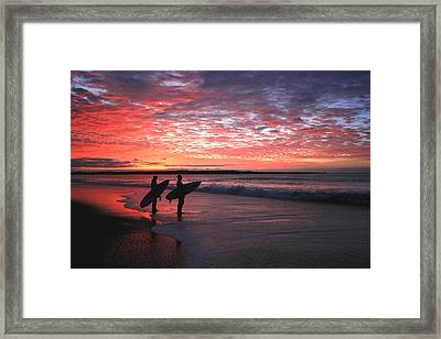 Dusk At Halfmoon Bay Framed Print by Mike Coverdale