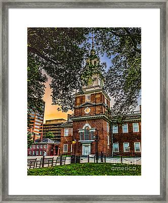 Dusk At Independence Hall Framed Print