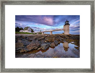 Framed Print featuring the photograph Dusk At Marshall Point by Rick Berk