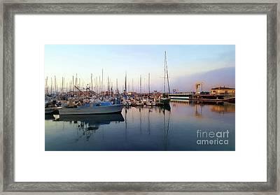 Dusk At Old Fisherman's Wharf Framed Print by Gina Savage