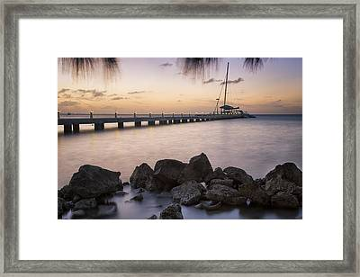 Dusk At Rum Point Grand Cayman Framed Print by Adam Romanowicz