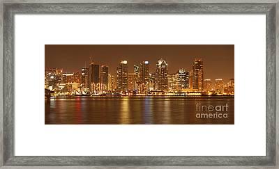 Dusk At San Diego Harbor Framed Print