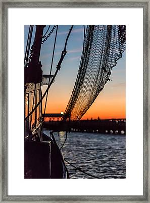 Dusk At Shem Creek Pier In Mt. Pleasant, Sc Framed Print by Donnie Whitaker