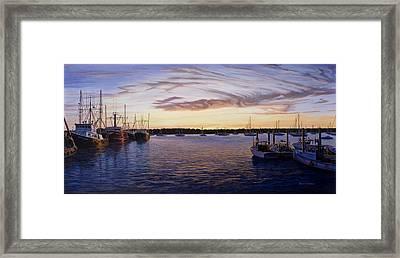 Dusk At Stonington Harbor Framed Print by Bruce Dumas