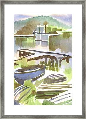 Framed Print featuring the painting Dusk At The Boat Dock by Kip DeVore