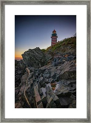 Dusk At West Quoddy Head Lighthouse Framed Print