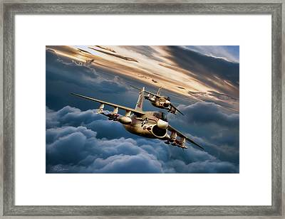 Dusk Delivery Corsair II Framed Print by Peter Chilelli