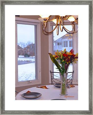 Framed Print featuring the pyrography Dusk Dining View by Elly Potamianos