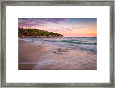 Dusk Glow At Sand Beach Framed Print