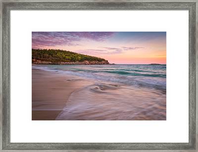 Dusk Glow At Sand Beach Framed Print