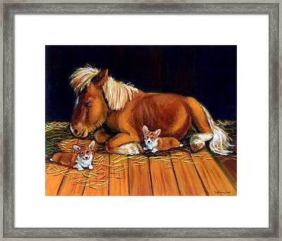 Dusk In The Barn - Pembroke Welsh Corgi Framed Print by Lyn Cook
