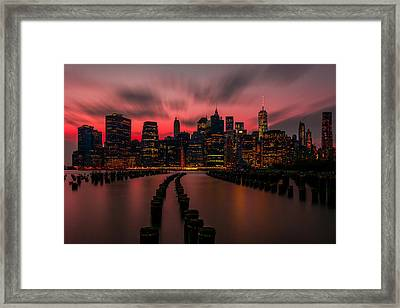 Dusk Manhattan Framed Print by RC Pics