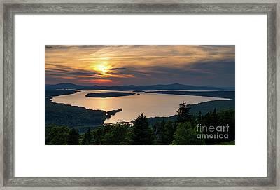 Framed Print featuring the photograph Dusk, Mooselookmeguntic Lake, Rangeley, Maine -63362-63364 by John Bald