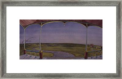 Dusk On The Porch Of The Old Victorian Framed Print