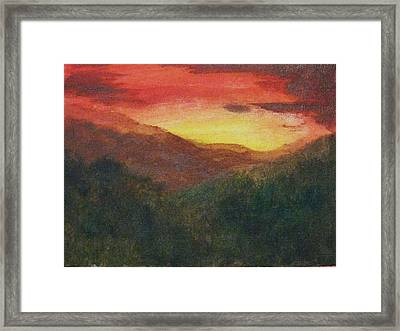 Framed Print featuring the painting Dusk Over Smokey by Trilby Cole