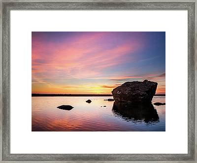 Dusk Settles On Little River Framed Print by Greg Nyquist