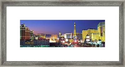 Dusk, The Strip, Las Vegas, Nevada, Usa Framed Print by Panoramic Images
