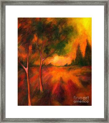 Framed Print featuring the painting Dusks Reflection by Alison Caltrider
