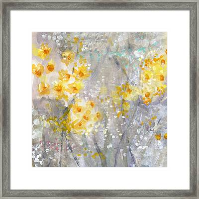 Dusty Miller- Abstract Floral Painting Framed Print by Linda Woods