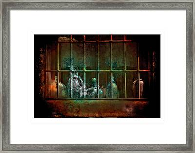 Dusty Old Bottles Framed Print by Mal Bray