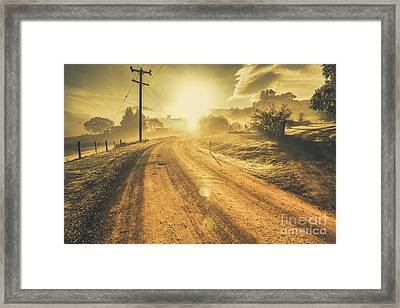Dusty Small Town Road Framed Print by Jorgo Photography - Wall Art Gallery