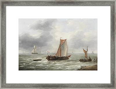 Dutch Barges And Other Craft Plying Their Trade Framed Print