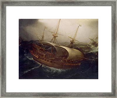 Dutch Battleship In A Storm Framed Print by Hendrick Cornelisz Vroom