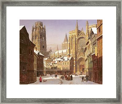 Dutch Cathedral Town Framed Print by Heinrich Hansen