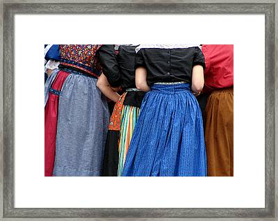 Dutch Dancers In A Huddle Framed Print by Michelle Calkins