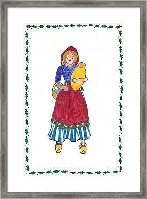 Dutch Doll Christmas Card Done At Age 16 Framed Print