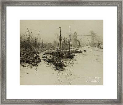 Dutch Eel Boats In The Pool Of London Framed Print by MotionAge Designs