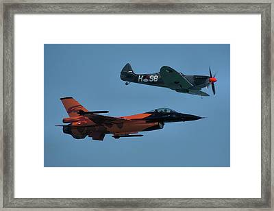 Framed Print featuring the photograph Dutch F-16 And Spitfire by Tim Beach