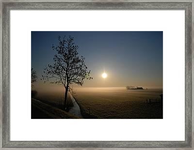 Dutch Farm At Dawn Framed Print by Hans Kool