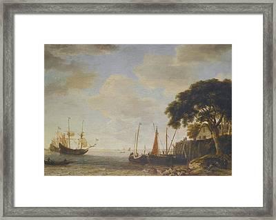 Dutch Kaag Tied Up To A Quay Framed Print