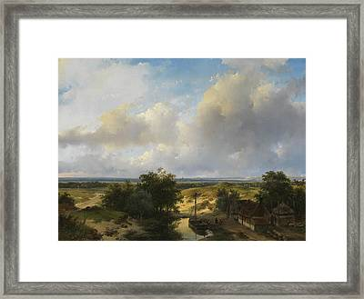 Dutch Landscape With A View Of Haarlem Framed Print by Andreas Schelfhout