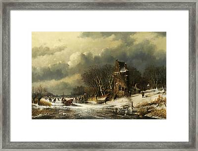 Dutch Landscape With Figures Framed Print by Andreas Schelfhout