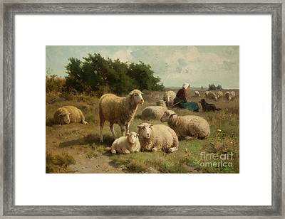 Dutch Landscape With Shepherdess Framed Print