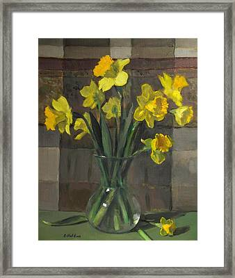 Dutch Master Narcissus In An Hourglass Vase Framed Print