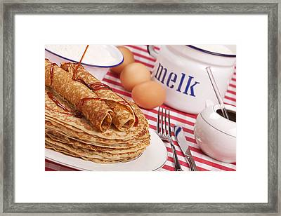Dutch Pancakes With Syrup Framed Print