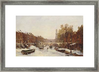 Dutch Town In Winter Framed Print