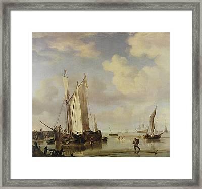 Dutch Vessels Inshore And Men Bathing Framed Print by Willem van de Velde