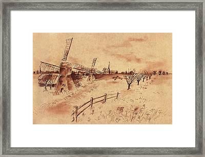 Dutch Windmills Framed Print by Ernestine Grindal