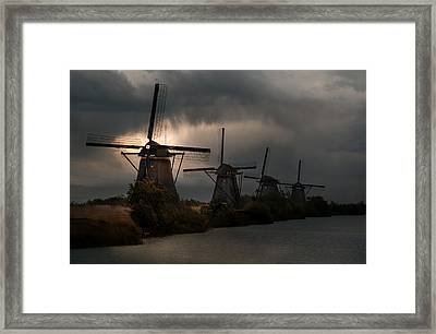 Dutch Windmills In Kinderdjik Framed Print
