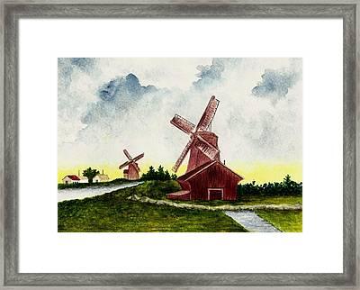 Dutch Windmills Framed Print by Michael Vigliotti