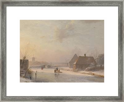 Dutch Winter Landscape With Ice Skaters Framed Print by Andreas Schelfhout