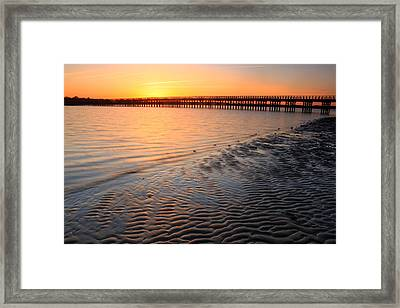 Duxbury Beach Powder Point Bridge Sunset Framed Print